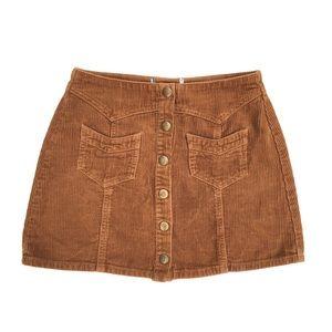 KENDALL + KYLIE Corduroy Tan Mini Button Skirt